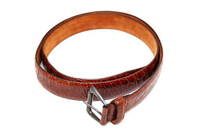 Michele Negri $1290 Real Crocodile Leather Sterling Silver Buckle Croc Belt  100