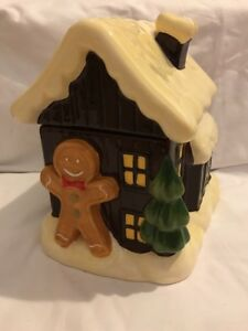 Ceramic Gingerbread Man And House Cookie Jar
