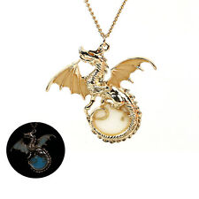 Luminous Charms Gold Dragon Locket Glow In The Dark Pendant Necklace Chain Gifts