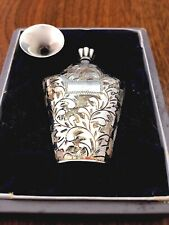 Japanese .950 Silver Engraved Perfume Bottle with Dabber & Funnel in Box No Mono