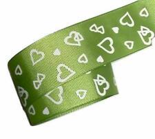 "5 yards Lime green heart print 1.5"" grosgrain ribbon by the yard DIY hair bows"