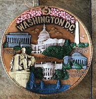 "VTG Mid-Century WASHINGTON DC Wall Hang Souvenir Collector Plate 8"" Kitsch MCM"