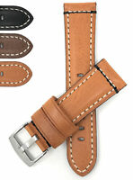 Bandini Mens Leather Watch Band Strap, Double Stitch, Brown Black Tan, 22mm 24mm