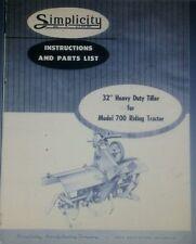 Allis Chalmers B-1 B-10 Simplicity 700 725 Tractor Tiller Owner & Parts Manual