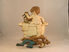 Sexton Plaque Boy with Frog in Bathtub, cast iron, 1970 pre-owned