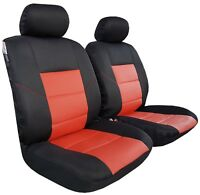 Airflow Black Spacer Mesh Red Leatherette Airbag Seat Covers Front Set Car SUV