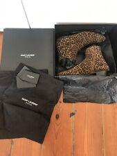 SAINT LAURENT Leopard Print HEDI SLIMANE RARE Boots 42 Mens Ankle 8 Chelsea Heel