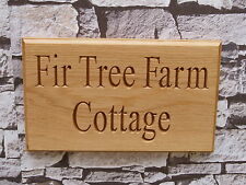 Oak House Sign Personalised Carved Custom Engraved Outdoor Wooden Name Plaque