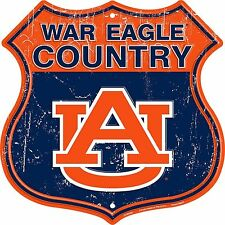 "Auburn War Eagle Country Highway 12"" x 12"" Embossed Metal Shield Sign"
