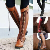 Heels Knee Boots Leather Rivet Lace Up  Women Winter Knight Riding Boots Chunky