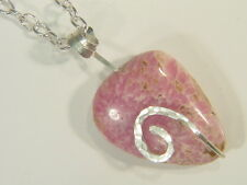 BUTW Sterling Silver Wire Wrapped Hammered Rhodochrosite Pendant Necklace 4933E