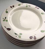 "Pottery Barn Dinner Plates 12"" Green Purple Olive Pattern Set of 8"