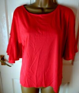 F+F Size 12 Red Fluted Sleeve Top Smart Casual