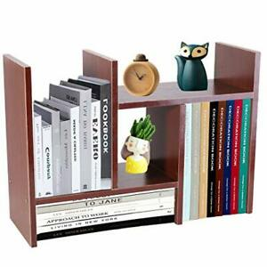 Office Storage Rack,Desktop Organizer,Home Decor Adjustable Wood Display Brown