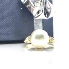 18K Yellow Gold Freshwater Pearl Diamond Ring