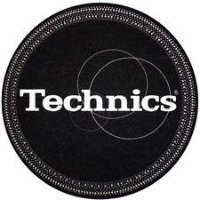 Technics Logo DJ Slipmats (pair, Black Strobe with White logo print)