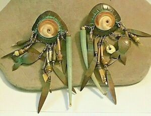 TABRA Artisan Copper Tone Earrings with  Metal, Stone Dangles Handcrafted
