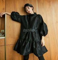 Womens Oversize Stand Collar Spring Puff Sleeve Falbala Mid Long Dress Loose hot