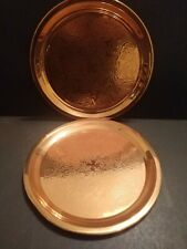 2 Princess House Heritage Shiny Round Copper Serving Trays w/ Engraved Centers