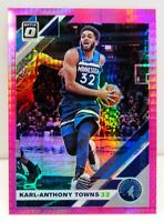Karl Anthony Towns 2019-20 Donruss Optic Hyper Pink Prizm Card #131 Timberwolves
