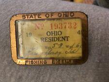 Ohio Fishing License 1945 Resident holder pin pinback 1940's metal frame