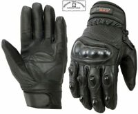 MENS CARBON KNUCKLE EXTRA PROTECTIVE SHORT MOTORBIKE / MOTORCYCLE LEATHER GLOVES
