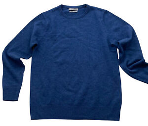 Marks and Spencer Mens Jumper Sweater Blue M Extra Fine Lambswool Crew Pullover