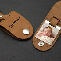 Personalised Photo Keychain Premium Keyrings Leather Key Fob Fathers Day Gift