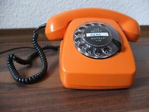 Vintage Wählscheiben - Telefon : Siemens - FeTap 611-2a, 1977, Orange, 10m Kabel