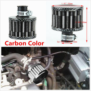 New 12MM Carbon Color Cone Mini Oil Air Intake Valve Cover Breather Air Filter