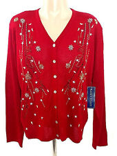 Ugly Christmas Sweater Women's Karen Scott Embellished Button Up Cardigan NWT XL