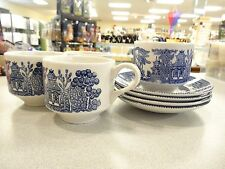 SET OF 4 BLUE WILLOW by Churchill of England cup and saucer sets coffee or tea L