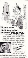 1962 VESPA SCOOTER  ~  RARE ORIGINAL SMALLER CUSHMAN MOTORS PRINT AD