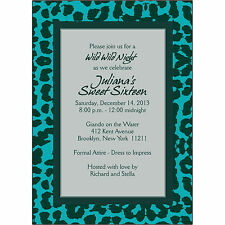 25 Personalized Birthday Party Invitations  - BP-035   Leopard  Turquoise