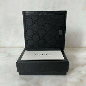 Gucci GG Supreme Canvas & Leather Wallet, Card Holder, Black, Brand New In Box