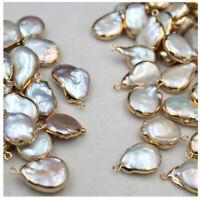5Pcs Natural Freshwater Baroque Pearl Pendant Copper Edging Irregular DIY Pearl