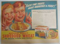 Nabisco Cereal Ad: Peaches and Shredded Wheat 1939 Size: 11 x 15 inches