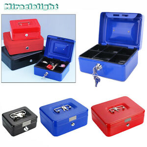 "5""-10"" inch Key Lock Petty Cash / Piggy Bank Money Box Tin Safe Pink Lockable UK"