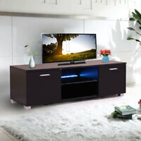 "Black 47"" TV Stand Cabinet Console w/LED Light Shelves for Living Room Storage"