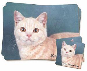 British Shorthair Cat 'Love You Mum' Twin 2x Placemats+2x Coasters S, AC-96lymPC