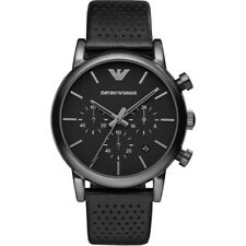 Emporio Armani AR1737 Classic Black Dial Leather Chronograph Men Gents Watch