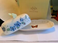 Lenox Butterfly Meadow Oblong Covered Butter Dish 1st Quality