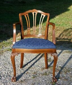 Vintage John M. Smyth Co. Mahogany Chippendale Style Ball & Claw Armchair Chair