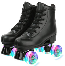 Black High-top PU Leather Roller Skates Lighted Four-Wheels - Size 6.5M / 8W