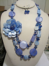 Two Layers Multi Blue Shell And Faceted Glass Bead Side Flower Necklace Earring