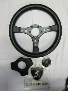 Lamborghini Countach QV steering wheel + rubber pad + horn badge emblem NOS