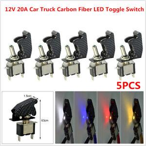 5 PCS 12V 20A Car Truck Boat Yacht Carbon Fiber LED Toggle Switch Light Racing