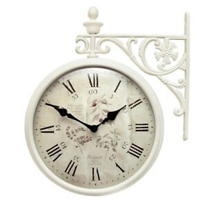 Antique Flower Double Sided Wall Clock Home Decor Station Clock Gift - M195IVF6