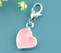 Clip-on Pink Enamel Heart Charm for Bracelet Necklace Zipper Pull Keychain