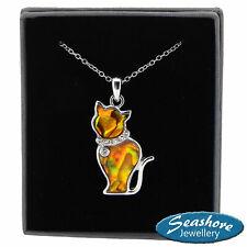 "Ginger Cat Necklace Orange Abalone Shell Pendant Silver Fashion Jewellery 18"""